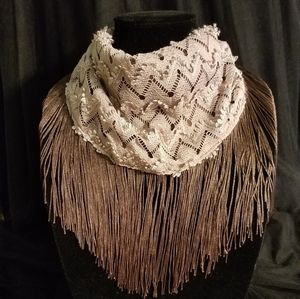 Brown lace fringe Face Mask/Scarf/Necklace